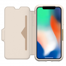 "OtterBox Strada Series Folio Case for iPhone X ""Soft Opal"" Pale Beige - ""Limited Edition"""